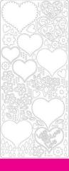 0427dr Stickerbogen Herzen dunkelrosa