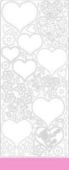 0427hr Stickerbogen Herzen hellrosa