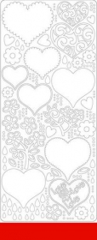 0427r Stickerbogen Herzen rot