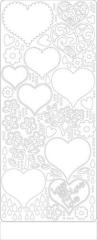 0427w Stickerbogen Herzen weiß