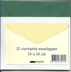 371292wg 12 vierkante enveloppen 14 x14 cm weihnachtsgrün