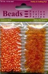 12130-3007 Reisperlen oval transparent & opak orange