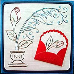 K5-1 Stickvorlage Feder und Blüte
