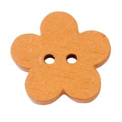 3863102 Holzknopf Blume ca. 1 cm 40 Stück orange