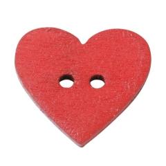 3863106 Holzknopf Herz ca. 1 cm 40 Stück rot