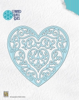 SGD003 NS Stained glass Dies Fantasy heart