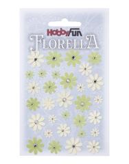 3866151 Florella Papierblumen Grün-creme 33 Stück
