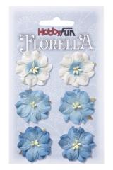 3866054 Florella Blumen aus Moerbijpapier 3,5 cm  blau