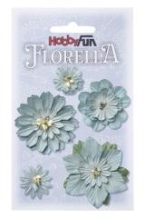3866063 Florella Blumen aus Moerbijpapier 2-5 cm lichtblau sorti