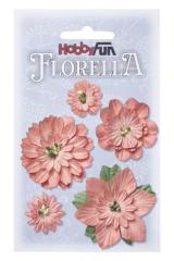 3866067 Florella Blumen aus Moerbijpapier 2-5 cm perzik sortiert