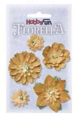 3866068 Florella Blumen aus Moerbijpapier 2-5 cm beige sortiert