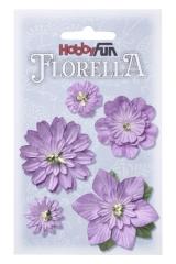 3866073 Florella Blumen aus Moerbijpapier 2-5 cm lavendel sortie