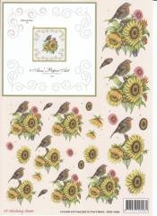 3DSS10009 Stickvorlage und 3D Motiv Blumenstrauß mit Vogel