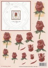 3DSS10004 Stickvorlage und 3D Motiv Rose