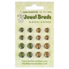LCR72.1444 Jewel Brads moosgrün/lichtgelb 8x 8mm und 8 x10 mm