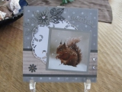 Karte handgearbeitet mit einem Eichhörnchen und dem Schriftzug Winter