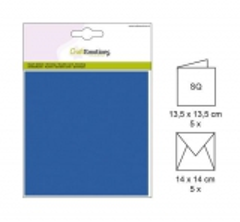 001330-0052 CE Karte mit Umschlag aquablau 5 Stück