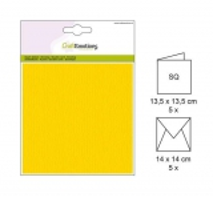 001330-0010 CE Karte mit Umschlag goldgelb 5 Stück
