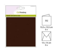 001330-0032 CE Karte mit Umschlag schokobraun 5 Stück
