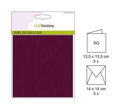 001330-0025 CE Karte mit Umschlag bordeaux 5 Stück