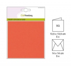 001330-0021 CE Karte mit Umschlag orange 5 Stück