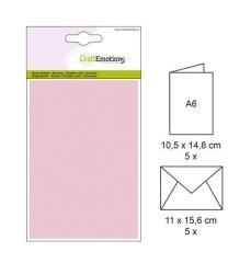 001325-0027 CE Karte mit Umschlag rosa 5 Stück
