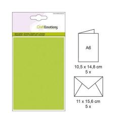 001325-0044 CE Karte mit Umschlag apfelgrün 5 Stück