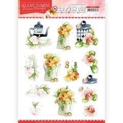 SB10452 3D Push Out - Precious Marieke - Delicate Flowers - Teapot