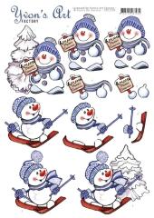 CD11550 YA Schneidebogen Schneemann, Merry Christmas