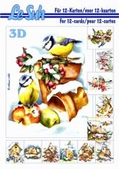 345654 3D Motivbuch A5 Vögel im Schnee