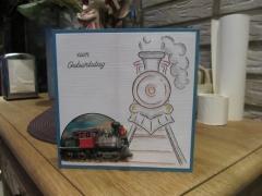 202102 Handgestickte Karte mit Eisenbahn  zum Geburtstag