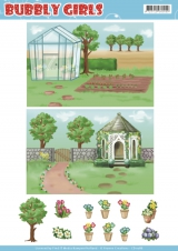 CD11286 Hintergrundpapier YC Bubbly Girls Gardening