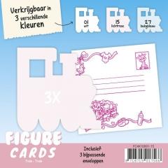 FC4K10001-15 Figuren Karte Zug Lichtrose