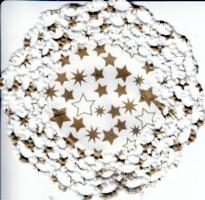 KD12 Kaffeedeckchen weiß mit goldenen Sternen